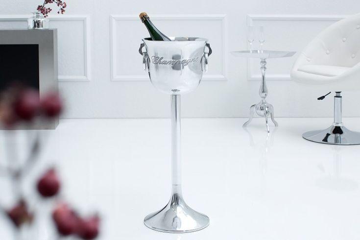 Luxusný chladič na šampanské Chladič CHAMPAGNE 75. High champagne cooler in silver color.