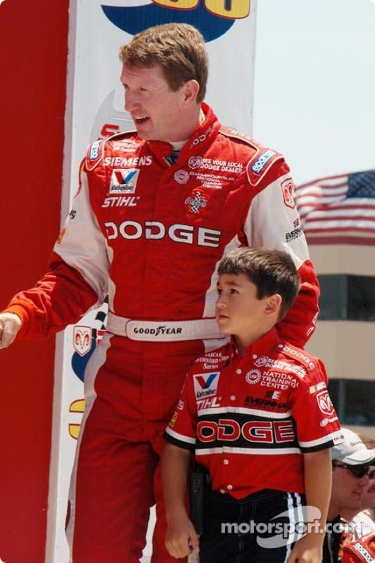 Bill and @chaseelliott are introduced to the crowd during driver introductions at @RaceSonoma in 2003.
