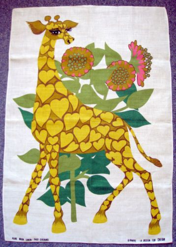 Superb Vintage Oxfam Belinda Lyon Yellow Giraffe Retro Dish Tea Towel 1970s