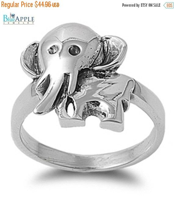 Cartoon Cute Baby 3D Elephant Comfort Fit Ring Solid 925 Sterling Silver Plain Simple 3mm Band Comfort Fit Ring Size 4-16