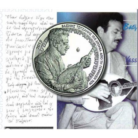 Βασίλης Τσιτσάνης, 100 Χρόνια απο την Γέννηση του Blister, 5€, Ελλάδα, 2015. Κορυφαίος συνθέτης, στιχουργός, δεξιοτέχνης του μπουζουκιού και τραγουδιστής, από τις σημαντικότερες φυσιογνωμίες της ελληνικής λαϊκής μουσικής του 20ού αιώνα, γεννήθηκε στα Τρίκαλα το 1915. Δημιούργησε εκατοντάδες τραγούδια, που διαδόθηκαν σε όλη την Ελλάδα με τις ηχογραφήσεις της εποχής, αλλά και με τις εμφανίσεις του σε θρυλικά κέντρα διασκέδασης όπως το Χάραμα της Καισαριανής