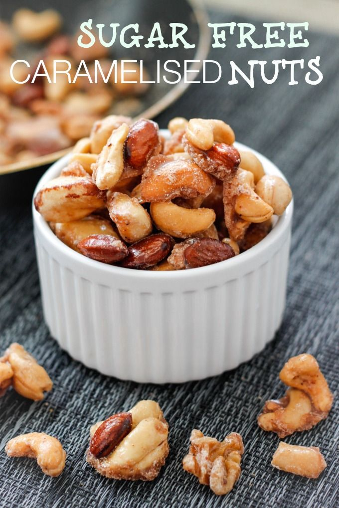 Sugar Free STOVETOP Caramelised Nuts- No oven, 5 minutes and delicious, glazed nuts- Vegan + GF + Paleo! thebigmansworld.com