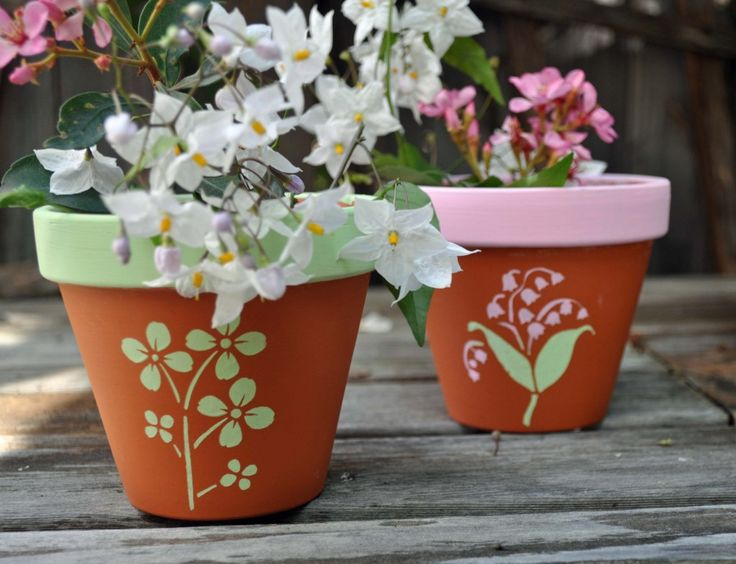 Botanical Flower Pots created with FolkArt paints and Martha Stewart stencils