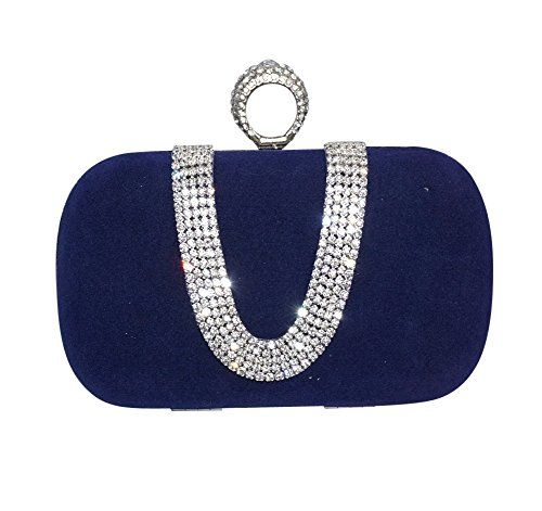 Chicastic Royal Blue Suede Velvet Rhinestone Stud One Ring Knuckle Duster Evening Cocktail Clutch Bag *** Continue @
