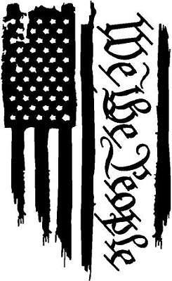 Black Vinyl Decal We The People Flag American Patriotic