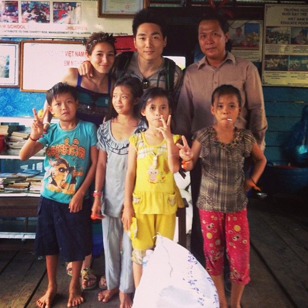 Donated some bags of rice and water bottles at the #Floating #School in the floating village of #Siem Reap. #siemreap #cambodia