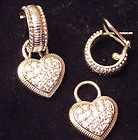 Judith Ripka Sterling Silver Huggable Hoop Earrings  Diamonique Heart Charms - amp, Charms, diamonique, Earrings., Heart, Hoop, Huggable, Judith, Ripka, silver, Sterling - http://designerjewelrygalleria.com/designer-jewelry-galleria/judith-ripka-sterling-silver-huggable-hoop-earrings-diamonique-heart-charms/: Heart Charm