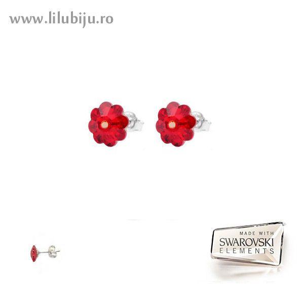 Cercei Swarovski Elements™ - Flori Margaritas Rosii by LiluBiju (copyright)