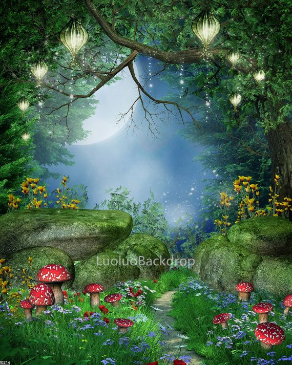 Scenic Backdrop Fairy Tale Wood Tree Secrete Garden Flowers Enchanted Forest Moon P
