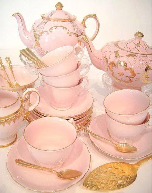 Cup of tea anyone? Cute Pink and Gold Tea Set