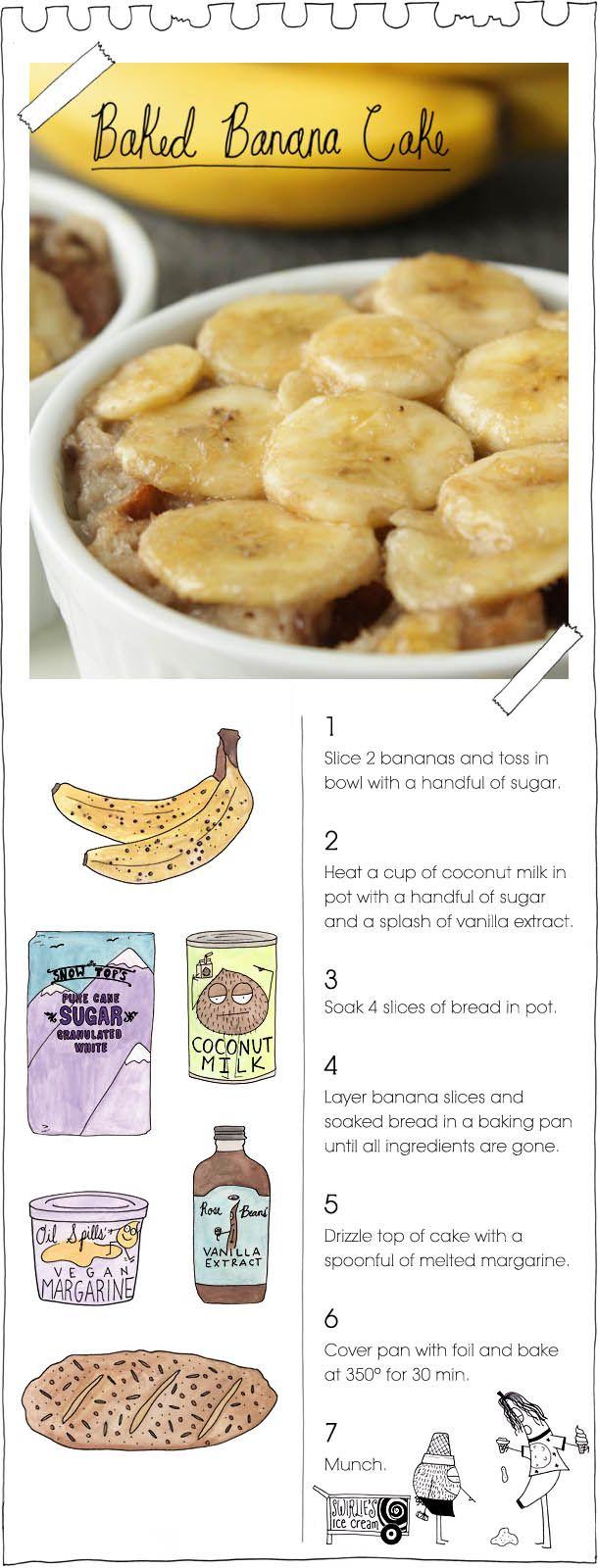 recetas de cocina - Baked Banana Cake