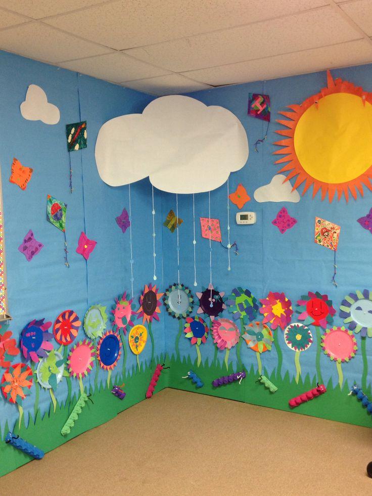 Spring Wall, paper plate flowers, foam butterfly's, kites