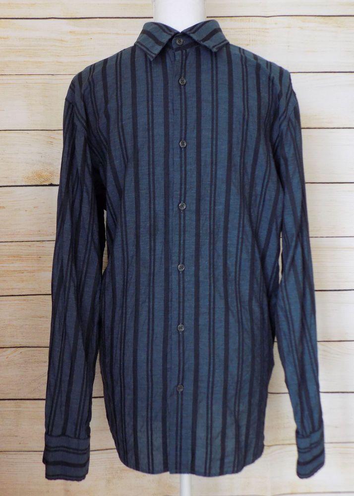 edfd6c5b Hugo Boss Button Down Dress Shirt Striped Blue & Black Cotton Men's Size XL  #HUGOBOSS #ButtonFront