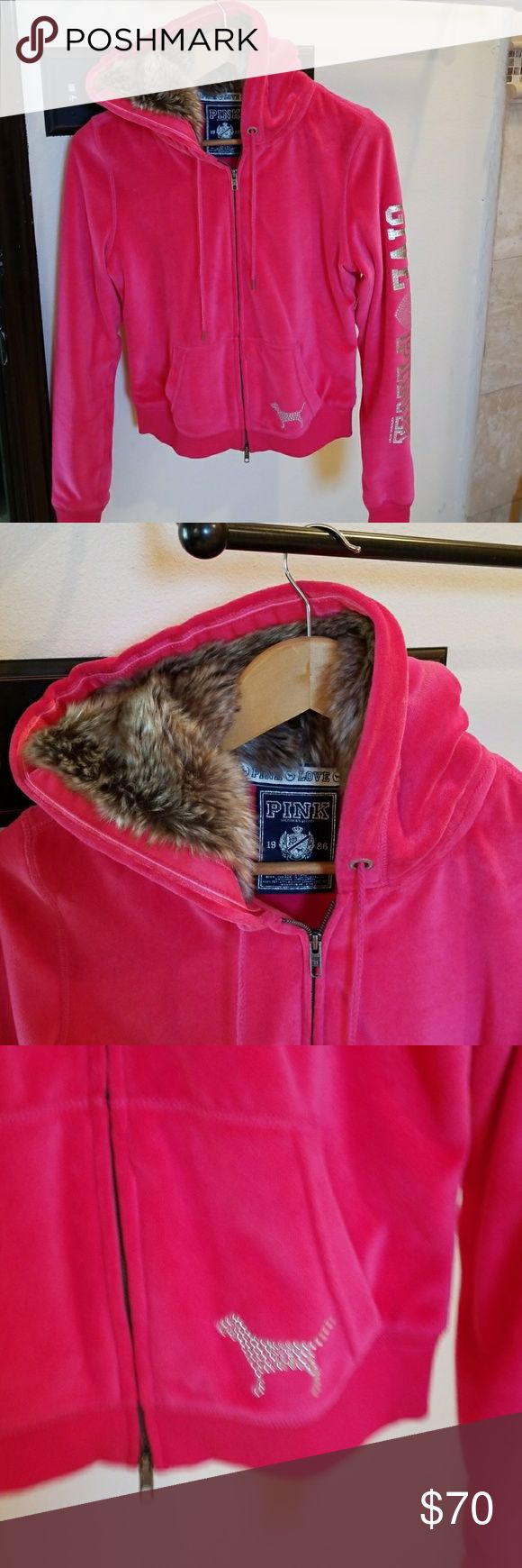 Victorias secret pink zip up velour sweater In great condition hot pink with Crystal embellishments Victoria's Secret Sweaters