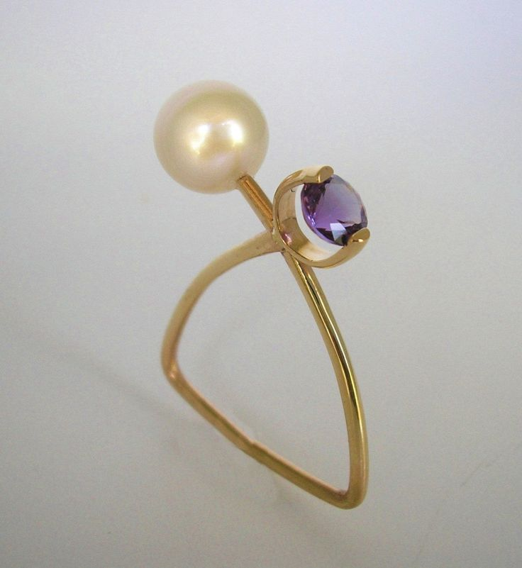 madhunt Jewelry: Abstract 14K yg Pearl and Amethyst Ring
