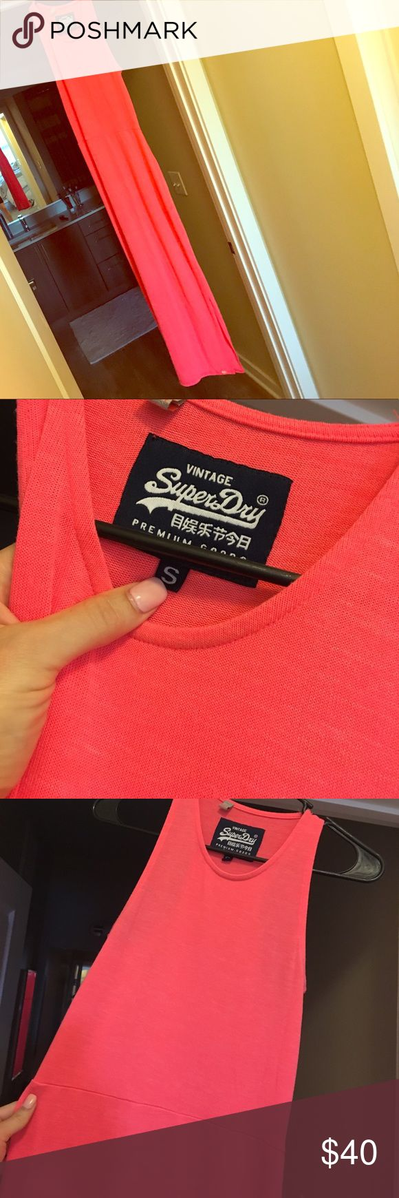 Super dry maxi neon pink dress Worn 1/2x comfy knit materialish- has some stretch Superdry Dresses Maxi