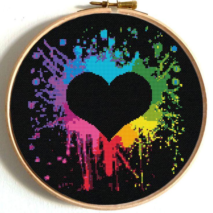 Colorful Heart Cross Stitch Pattern Modern Embroidery #hoopart #embroidery #crossstitch #NikkipatternOnEtsy