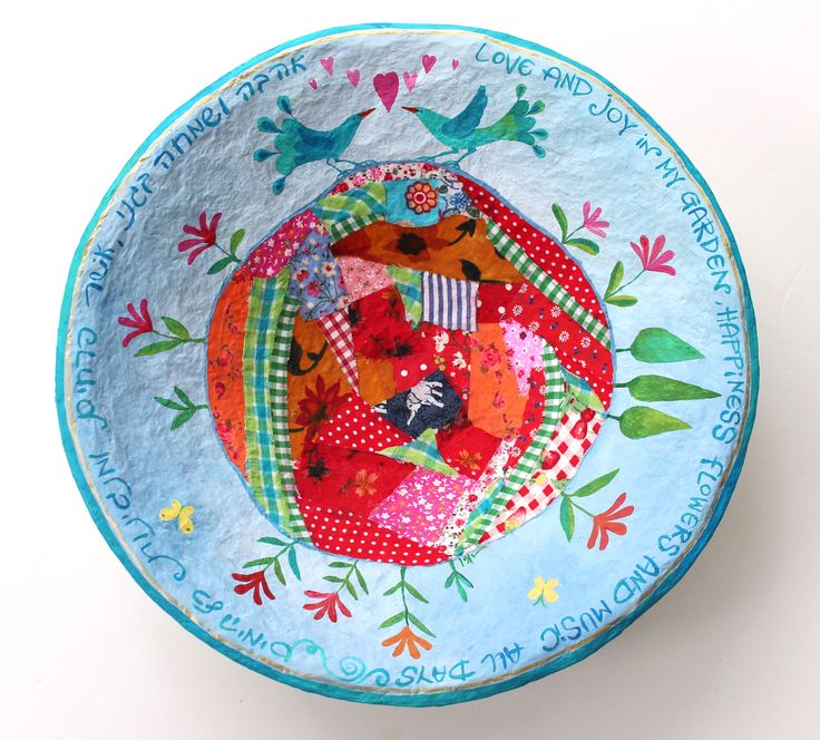 the birds know spring will soon be here-painting and fabric collage on a paper mache plate .liatart.com