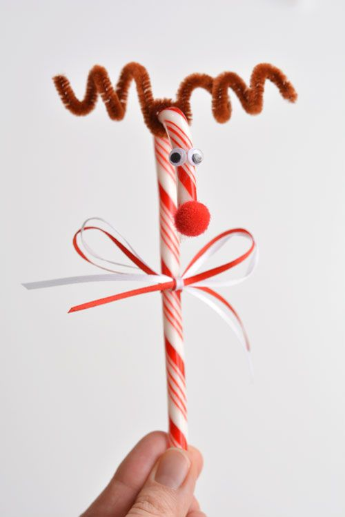 Do you remember making these Rudolph candy canes when you were a kid?! They're so cute and SO EASY! What a great holiday craft to do with the kids!