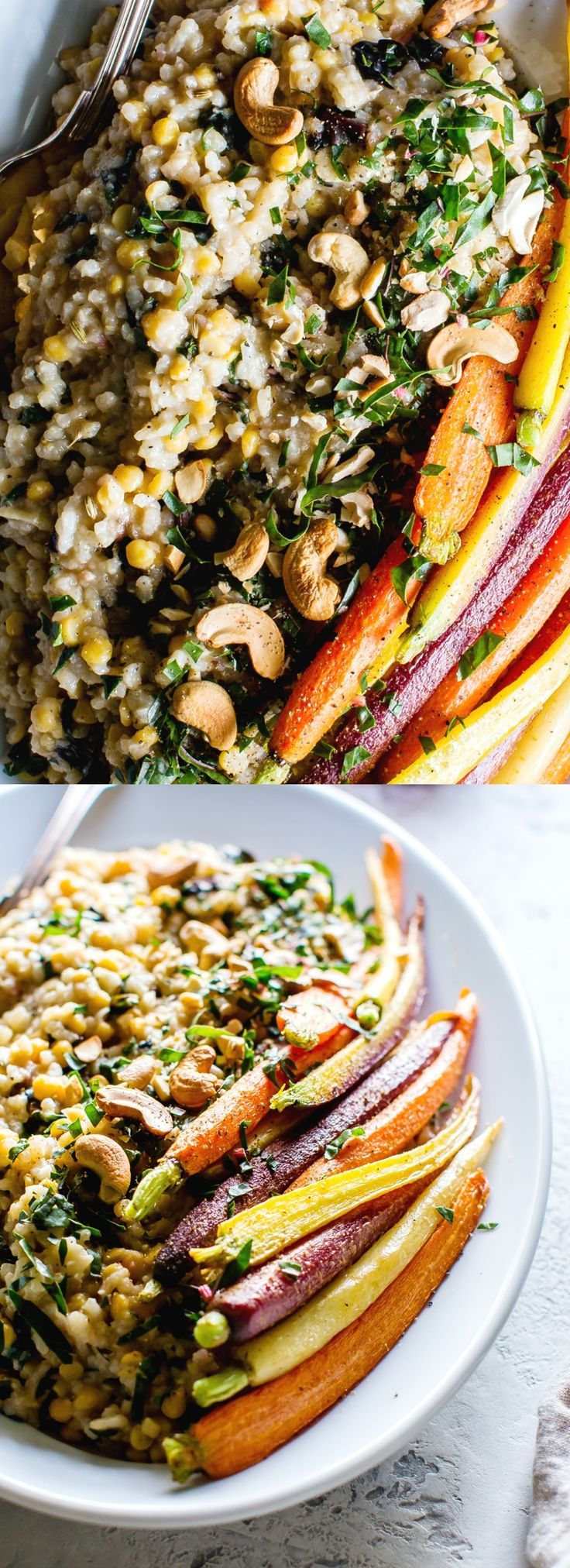 Lentil Risotto with Rainbow Chard and Crispy Carrots is a creamy, flavor packed main. With an easy risotto method, dinner is ready in about 45 minutes. #vegetarian #vegetarianrecipes #veganfood #veganrecipes