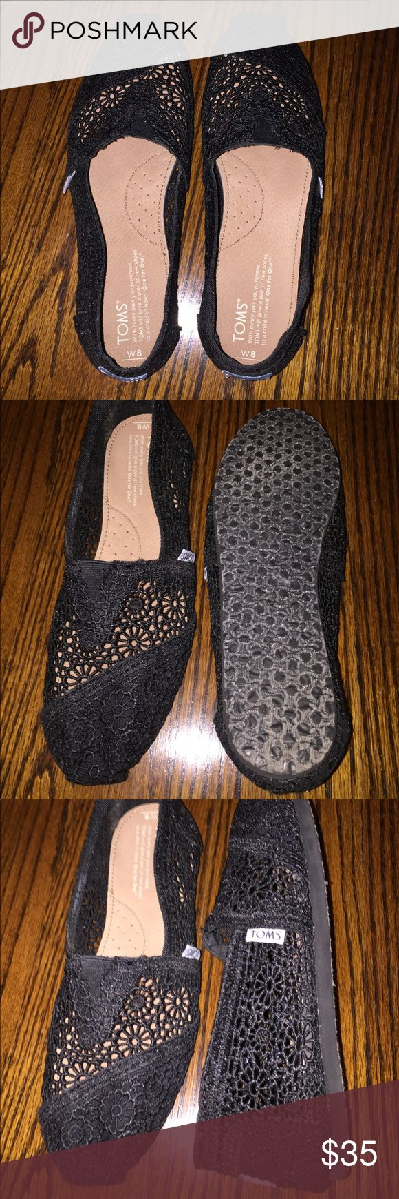 Black lace Toms Black lace Toms. Size 8. Worn once. With original bag. Toms Shoes Flats & Loafers