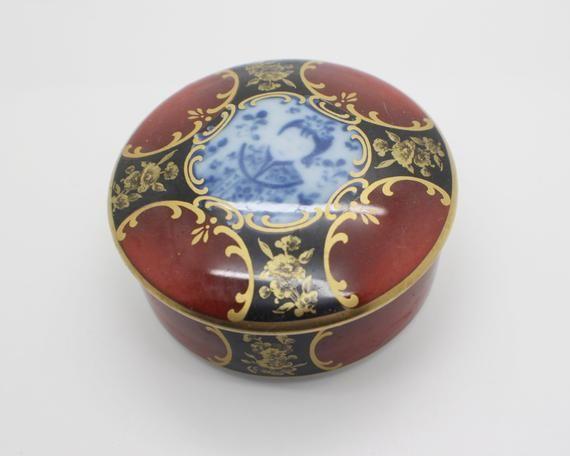 Siam Kaiser Germany Oriental Style Ceramic Trinket Pot With Lid Ornate Design In 2020 Oriental Oriental Fashion Ceramics