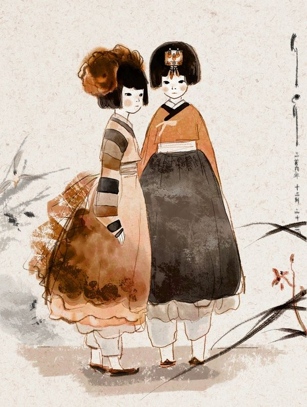 #Hanbok, Korea. Love water colour effects...