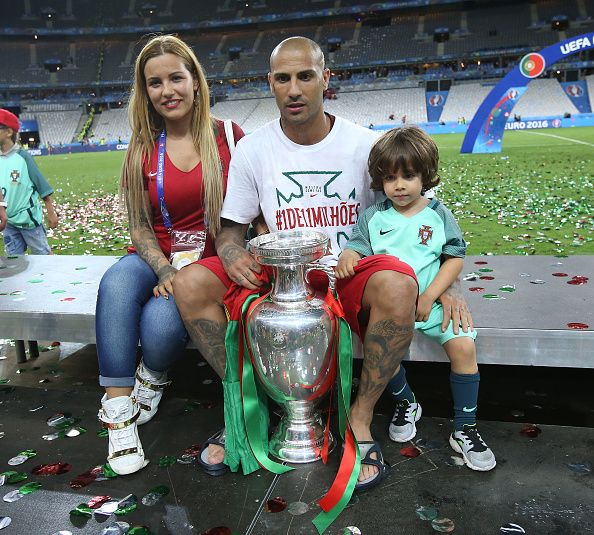 #EURO2016 Ricardo Quaresma of Portugal and his wife Daphne Quaresma pose with the trophy following the UEFA Euro 2016 final match between Portugal and France...