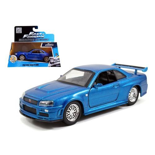 "Brian's Nissan Skyline GT-R R34 Blue ""Fast & Furious"" Movie 1/32 Diecast Car Model by Jada"