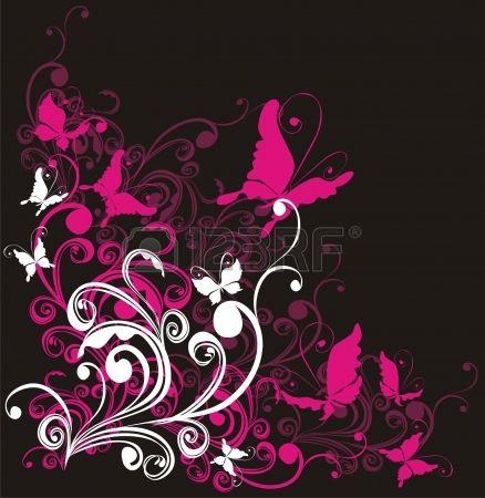 Astratto sfondo floreale con farfalla, vector Archivio Fotografico - 16258514