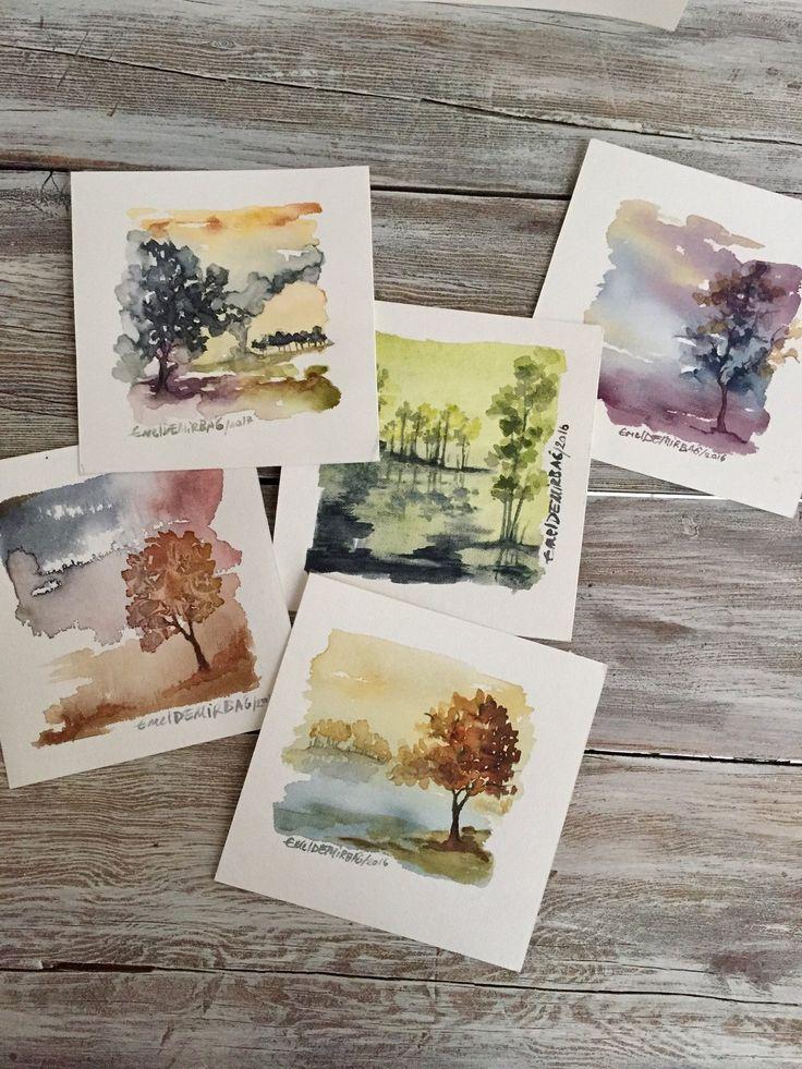 Natur Baum Aquarell, Kunst-Liebhaber-Geschenk, Aquarell-Landschaftsmalerei, Original Aquarell, zeitgenössische Kunst, moderne Kunst, kleine Wand-Dekor