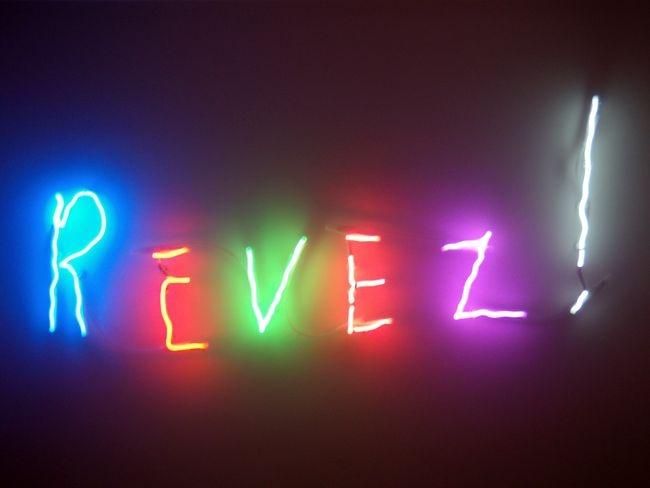 """par Claude Lévêque et à l'exposition de la Maison Rouge """"Néon — Who's afraid of red yellow and blue?"""""""