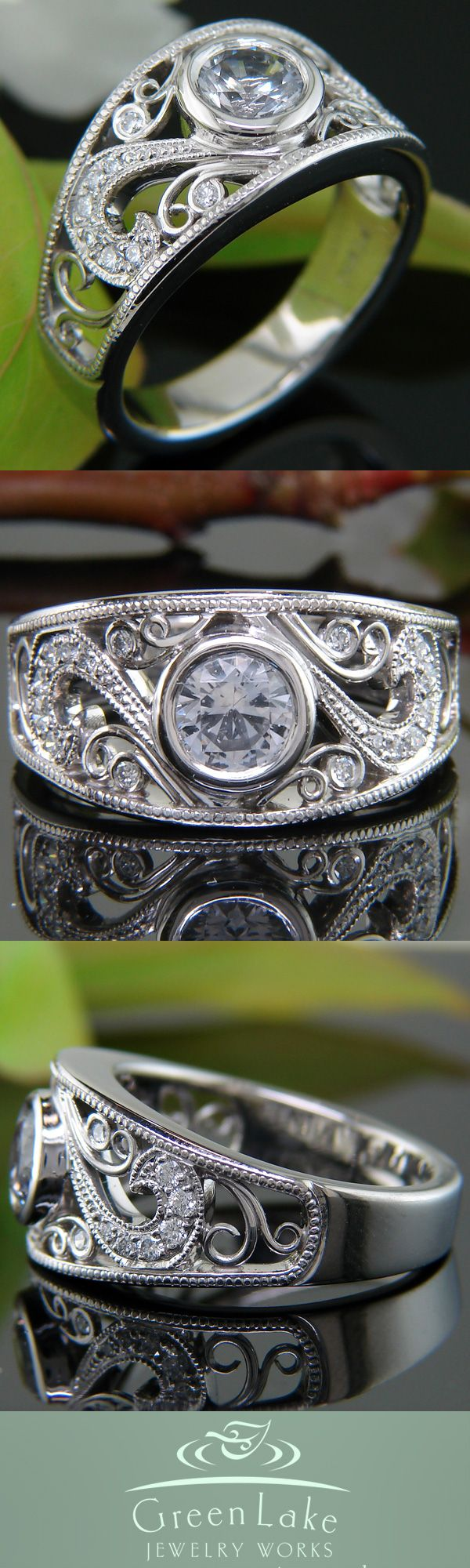 antique style ring from green lake jewelry works cool