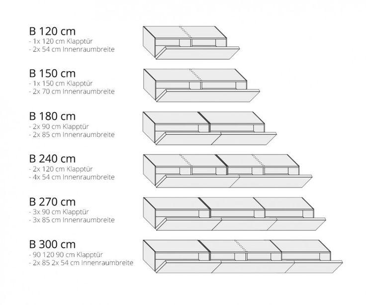 Livitalia Holz Lowboard Konfigurator 270 cm Eiche Hell