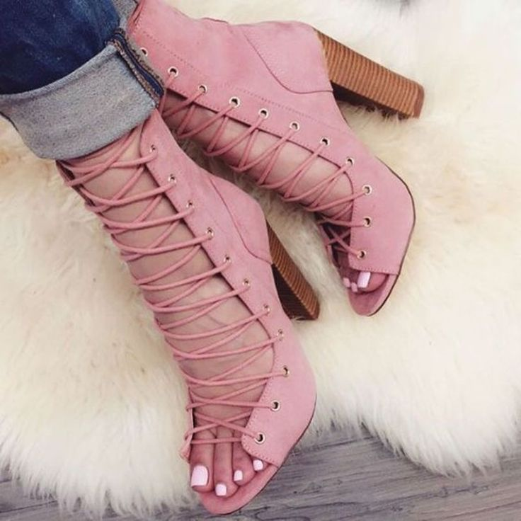 Shoespie Awesome Lace Up Caged Chunky Fashion Booties Material:Suede; Lining Material:PU; Outsole Material:Rubber; Toe:Open Toe; Upper Height:High-Cut Upper; Back Counter Type:Heel Covering; Heel Height:10.5cm