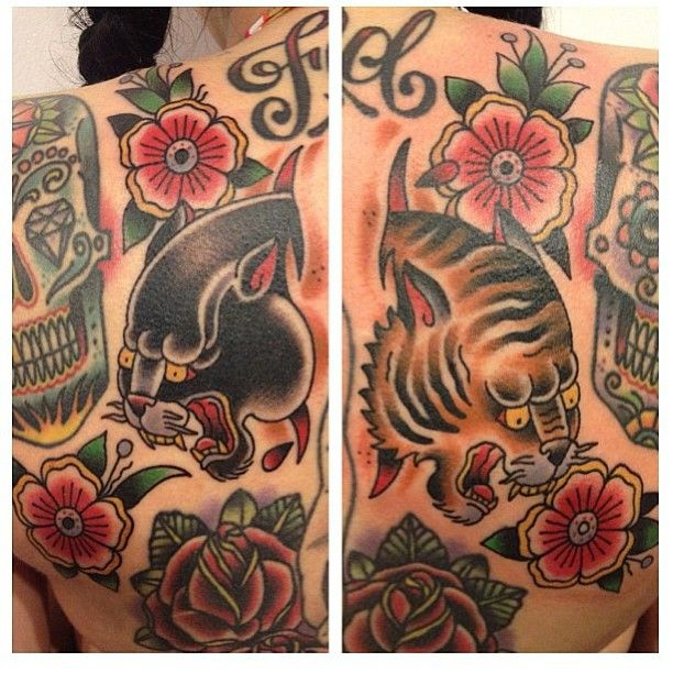 Tiger and Panther by kustomthrills tattoos by Adam the Kid