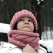 Аксессуары ручной работы. Ярмарка Мастеров - ручная работа НОВИНКА - Снуд (шарф закрытый) с косой в два оборота Пыльная роза. Handmade.