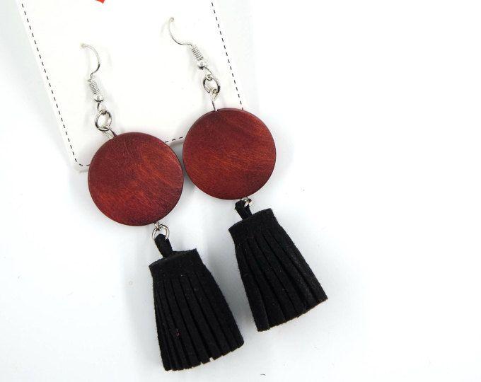 Bohemian earrings | native earrings, ethnic earrings, wood earrings, tassel earrings, bohemian, minimalist earrings, boho, gypsy, african