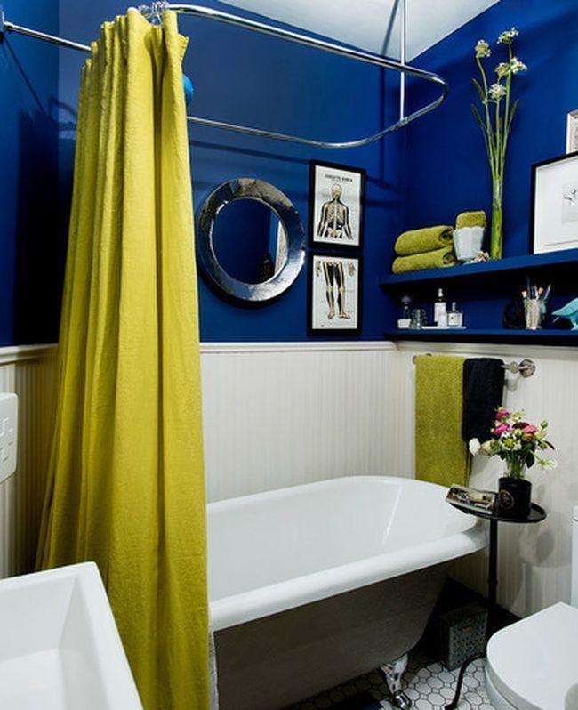 top mini salle de bains couleurs audacieuses with salle de bain jaune et bleu. Black Bedroom Furniture Sets. Home Design Ideas