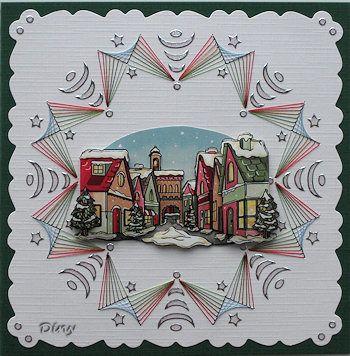 Kaarten maken kerst  borduren en hobbydots