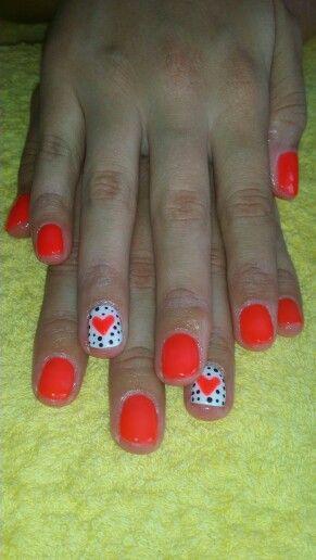 #neon #orange #heart #dots LOVE
