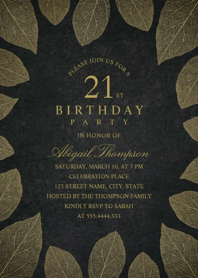Gold Leaves 21st Birthday Invitations
