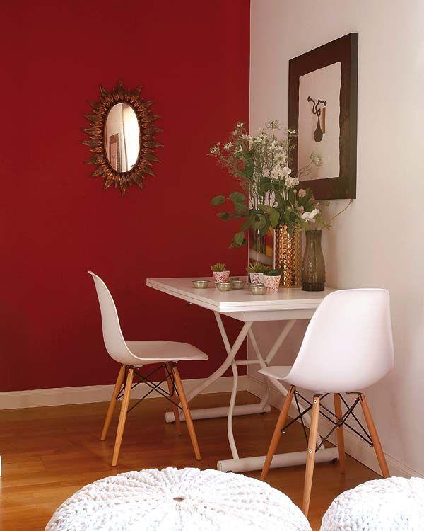 sala de jantar pequena, decoração de sala em vermelho, decorando com vermelho