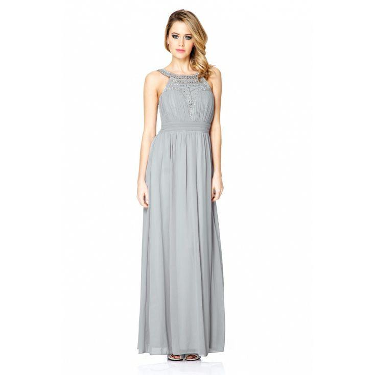 Grey Embellished Maxi Dress - Quiz Clothing