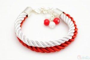 Bransoletka sznurek skręcany biało czerwona