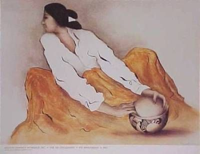 """My new print by R.C. Gorman, Nat. Amer. artist, Taos, N.M.  """"Pottery Keeper"""" - found in an antique store."""