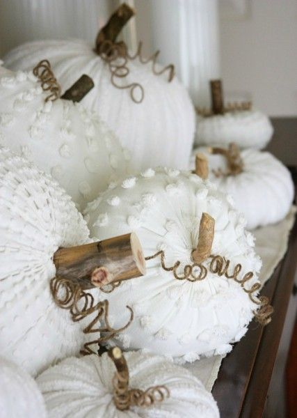 DIY fabric pumpkins using chenille, silk, wool, velvet or corduroy fabric - find them at www.fabric.com