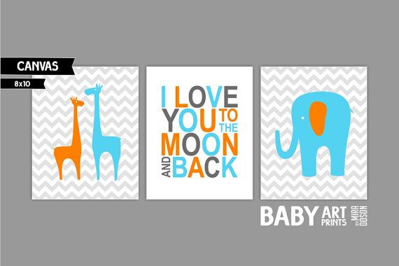 Orange Aqua Grey Baby Boy Nursery canvas art Set by babyartprints