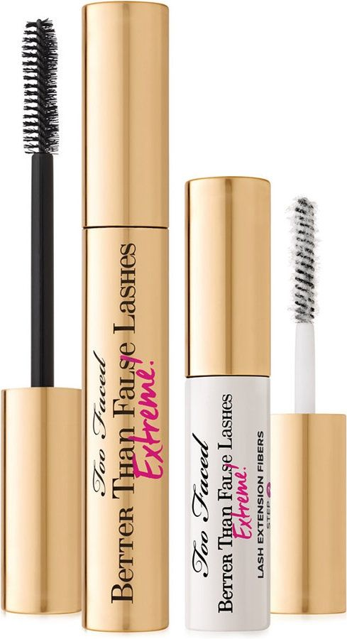 TOO FACED BETTER THAN FALSE LASHES: Say good-bye to the difficulty, stress and hassle of false lashes with our instant lash extension kit! Too Faced improved their best-selling Better Than False Lashes with a supercharged Prime & Seal Mascara that dries quickly, a new duo-fiber spiral brush to capture every last lash and advanced sculpting nylon fibers for an extreme length, false lash look made easy. Best mascara!
