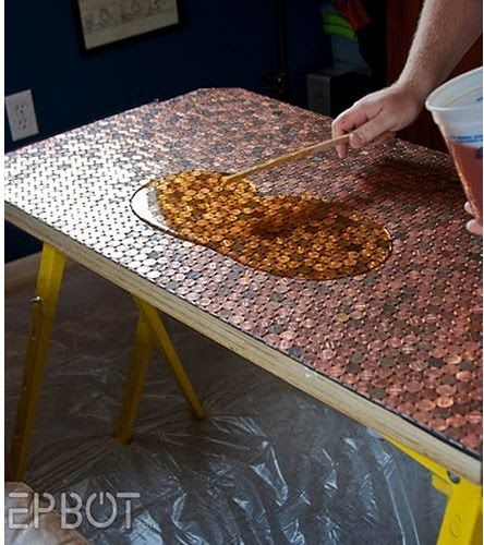 cover pallet table top w/ pennies & seal. Would look fab on new deck, & weatherproof.